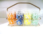 Vintage Set of Eight Fred Press Mid Century High Ball or Iced Tea Glasses with Metal Rack HolderSale 25% off As Marked Three Days Only