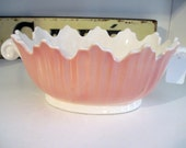 Vintage Bowl 70s Fitz and Floyd Pink Scalloped Bowl