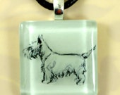 Scottish Terrier on a Clear Glass Tile Pendent or Pin