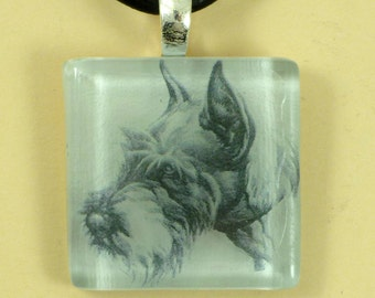 Schnauzer on a Clear Glass Tile Pendant