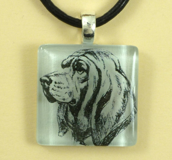 Bloodhound on a Clear Glass Tile Pendant