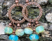 Spring Sea Breeze Copper and Czech Crystal Earrings