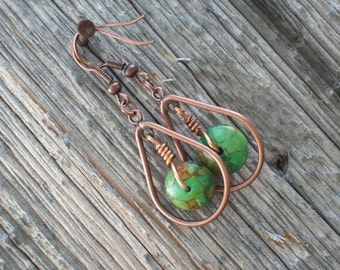 Green Girl Eco-Style Copper and Turquoise Wire Wrap Earrings