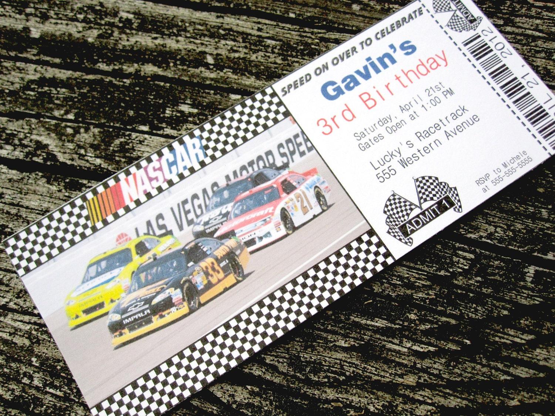 NASCAR Racing Ticket Custom PRINTABLE Birthday Invitation – Nascar Birthday Invitations