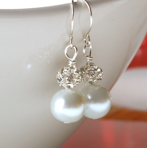 Bridal Jewelry Bridal Earrings White Glass Pearl And Rhinestone Earrings Wedding Bridal