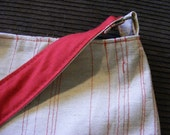 Canvas Purse with Stitched Red Stripes