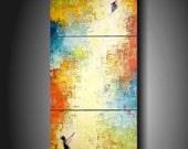 WEEKEND MADNESS  10% OFF Jmjartstudio Original Painting 3 piece  48 X 20 Inches -------Finally--- ------