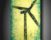Art original Abstract painting JMJARTSTUDIO Original Painting 18 X 36 INCHES Windmill Wind Turbine------- Making a change--- ------