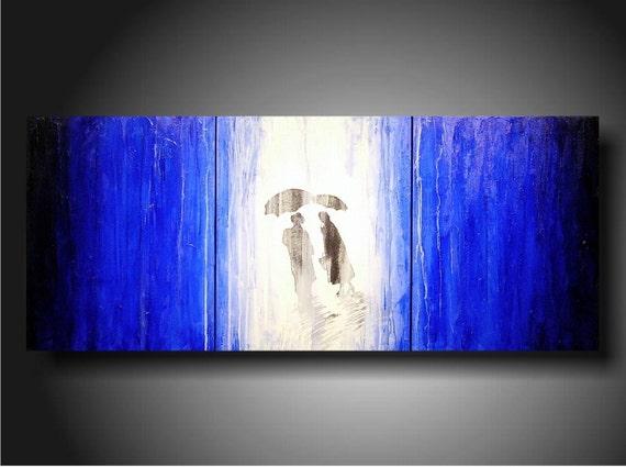 Art Painting Original Jmjartstudio OriginaL 3 Piece PaintIng 20 inches X 48 inches Blue Blue Blue-----Taking Chances------Textured-