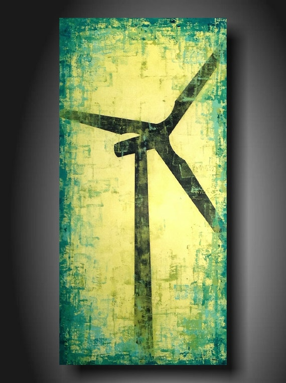 Art original Abstract painting JMJARTSTUDIO Original Painting 18 X 36 INCHES Windmill Wind Turbine------- Making a change--- ------