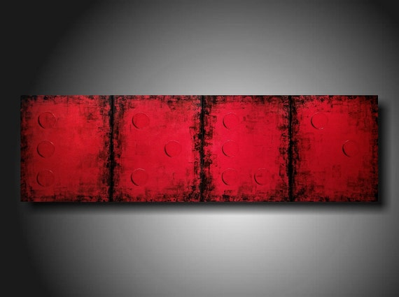 Art Painting Original JMJARTSTUDIO Original 4 Piece Braille Painting 20 X 64 Inches LOVE red Red red custom piece