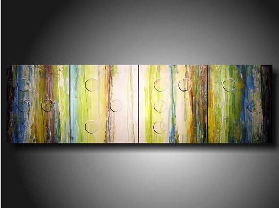 Art original Abstract painting TODAY show Jmjartstudio Original 4 Piece Braille Painting 20 X 64 Inches HOPE