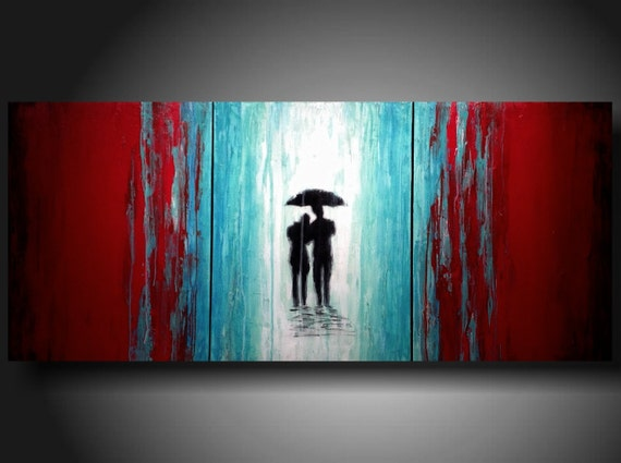 Art Painting Original Jmjartstudio OriginaL 3 Piece PaintIng 24 inches X 54 inches -----Leaving it all behind------Textured-