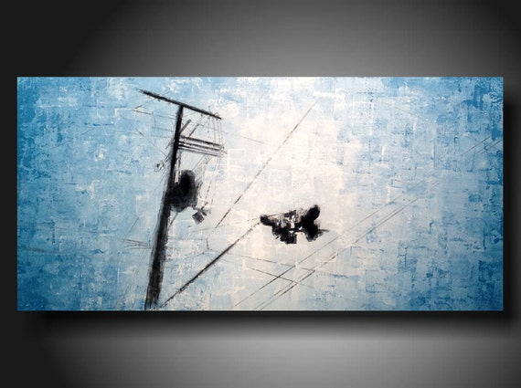 ORIGINAL Abstract Contemporary Fine Art Abstract Textured Painting modern 18 X 36 Inches  ------- Whats ahead---Sky blue