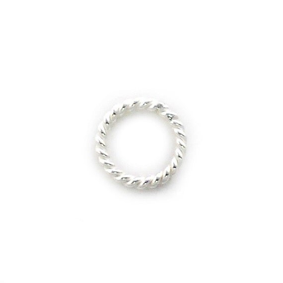 10pcs. - 7mm. Sterling Silver Twisted Jump Rings