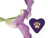 "Precious Paw Print Purple Glass Heart for Thoughtful Pet Loss Sympathy 1.5x1.5x.5"" 1.6oz"