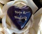 "Purple Glass Heart of 'Hope and Healing' Acknowledging Courage Hospital Get Well Support Encouragement 1.5x1.5x.5"" 1.6oz"
