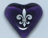 Friendship Fleur de Lis Purple Glass Heart