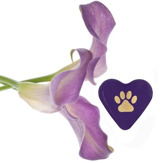 "Precious Paw Print Purple Glass Heart for Thoughtful Pet Loss Sympathy 1.5x1.5x.5"" 1.6oz"