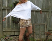 Cyber Monday Sample Sale -- Off the Shoulder Dolman Sleeve White and Tribal Print Dress - Top