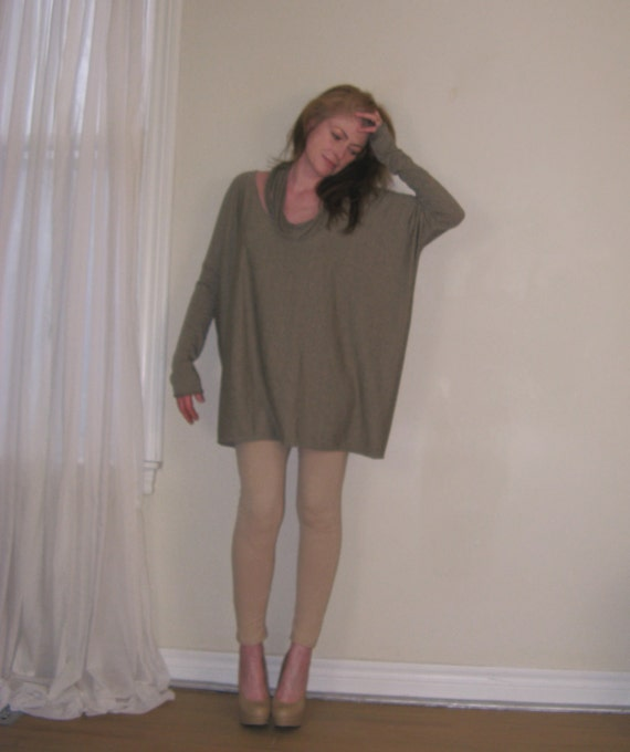 Off Shoulder Sweater Plus Size Tunic Over Sized Boxy Tee Long Sleeve Maternity Top - (Neutral Colours) - XS - XL - Made to Order