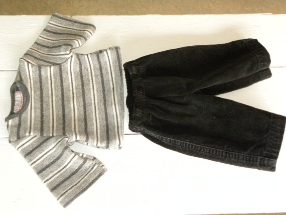 Black Corduroy Pants and Grey Striped Sweater - 16 - 18 inch boy doll clothes