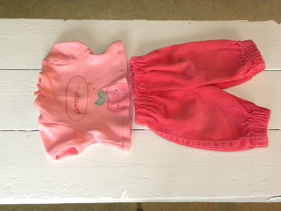 Peachy Pink Corduroy Pants and Tshirt - 16 - 18 inch doll clothes