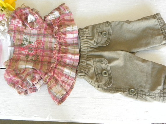 Little Plaid Blouse and Olive Green Pants - 16 - 18 inch doll clothes