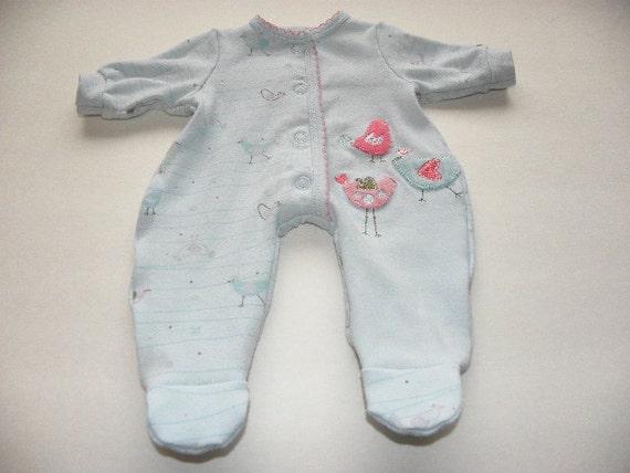 Aqua Little Bird Footed Sleeper - 14 - 15 inch doll clothes