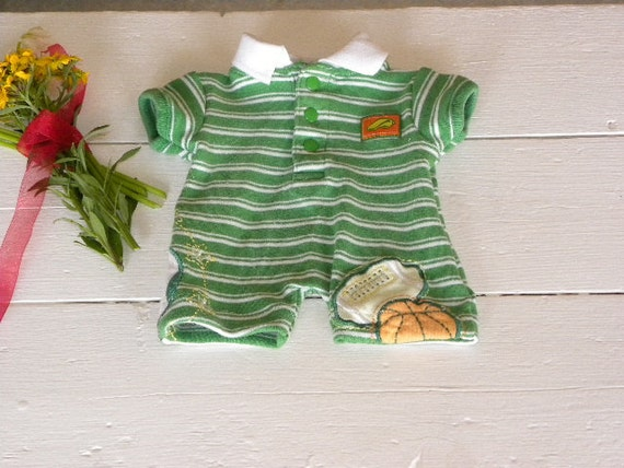 Green and White Striped Shortall - 14 - 15 inch boy doll clothes