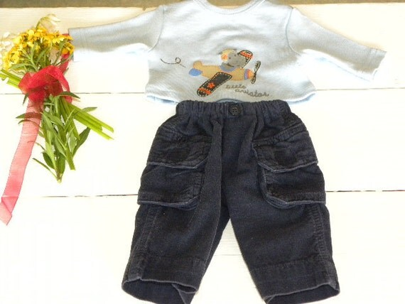 Navy Corduroy Cargo Pants and Blue Tshirt - 14 - 15 inch boy doll clothes