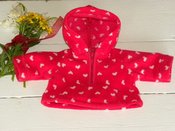 Red Fleece Hooded Heart Jacket - 12 inch doll clothes