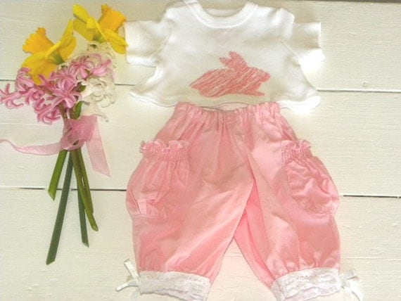 Pink Puffy Pants and White Tshirt - 14 - 15 inch doll clothes
