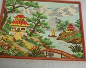 Shabby Vintage Framed  Asian Pagoda Scene Needlepoint
