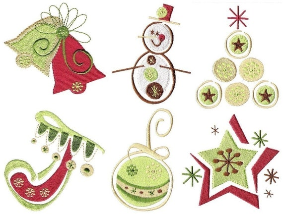 Christmas machine embroidery designs two sizes by embroidalot