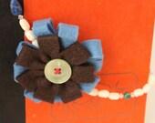 Felt Flower and Vintage Beaded Necklace