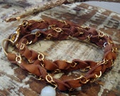Braided Deer Skin Leather With Gold Fill Chain Wrist Wrap Bracelet