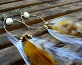 Golden Sun Pearl and Feather Earrings