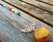 Yellow Gold Druzy With Leather and Raindow Agate Stone Necklace