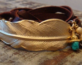 Gold Feather Leather Wrap Bracelet
