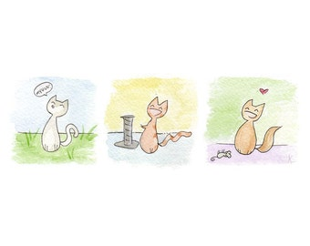 "Watercolor Print 81/2 x 11 - ""Three Cute Cats"""