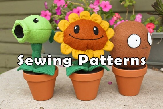PDF DOWNLOAD Combo Pack 3 Sewing Patterms Sunflower Wallnut and Pea Plant in a Clay Pot