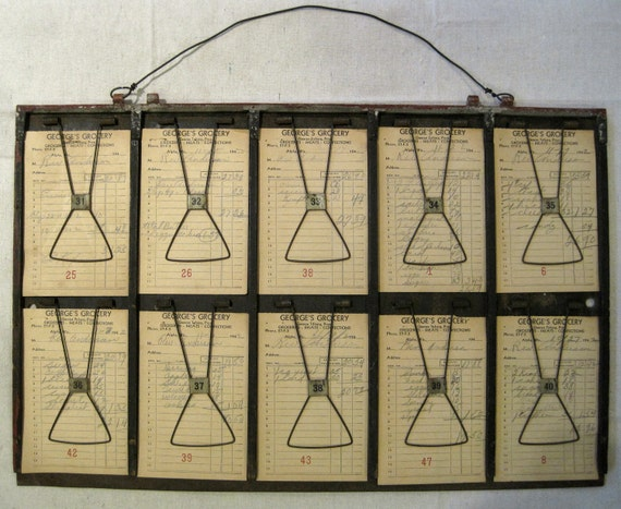 Old Accounting System Receipt Clipboard.  Awesome vintage industrial look.  Great for photos or inspiration board