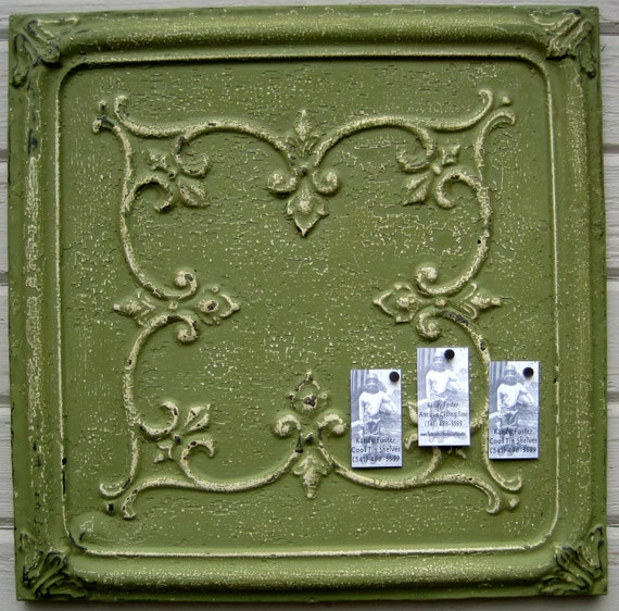 2'x2' Antique Ceiling Tin Tile Circa 1900. Green FRAMED Ready to Hang. Great for magnet board as well.