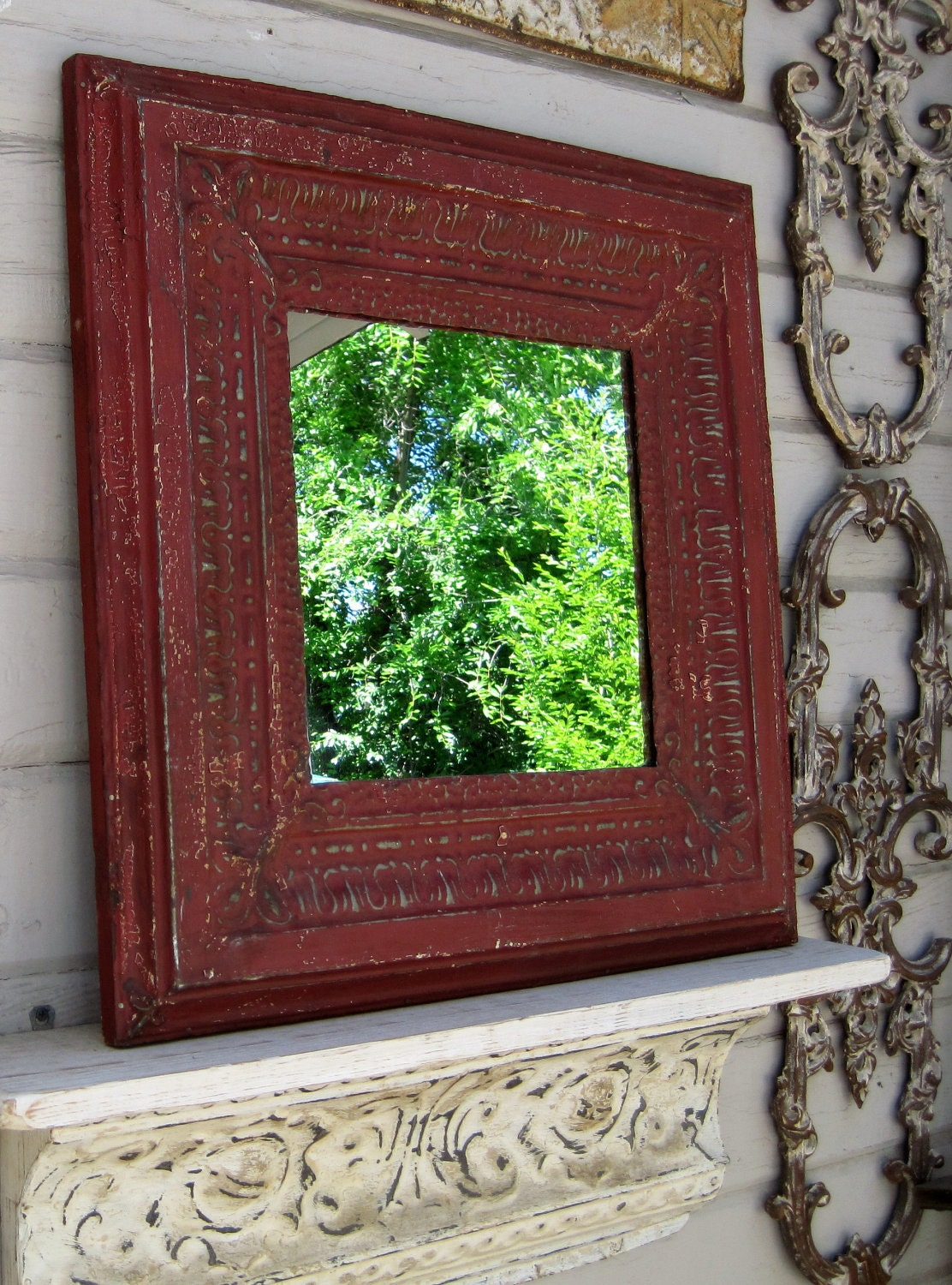 2x2 Antique Ceiling Tin Tile Mirror Distressed Red Framed