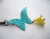 Vintage Inspired Verdigris Patina Butterfly Necklace
