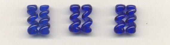 Tom's lampwork cobalt blue twist cylinder drops-spacers 15mm 0534AA