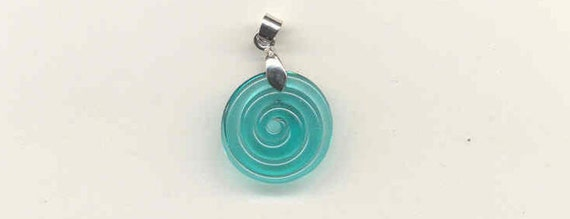 Tom's lampwork teal disc pendant 0572