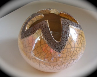 Raku Pot White Crackle  by J.Bruneau