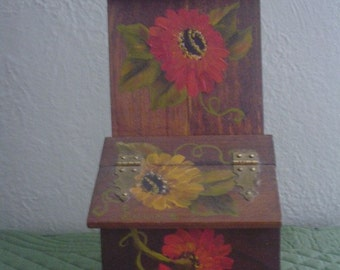 Hand Painted Wooden Box with Hinged Lid